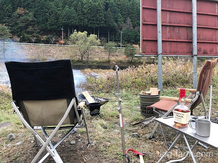 ローチェアと焚き火