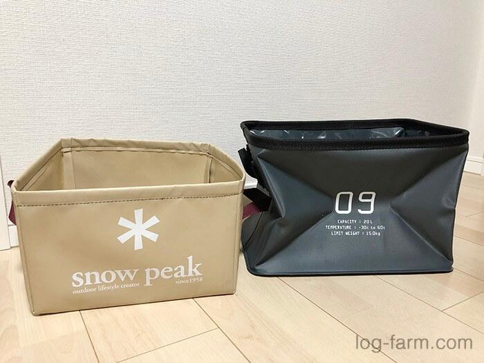 (左)SnowPeakパックシンク(右)SLOWER収納ボックス20L