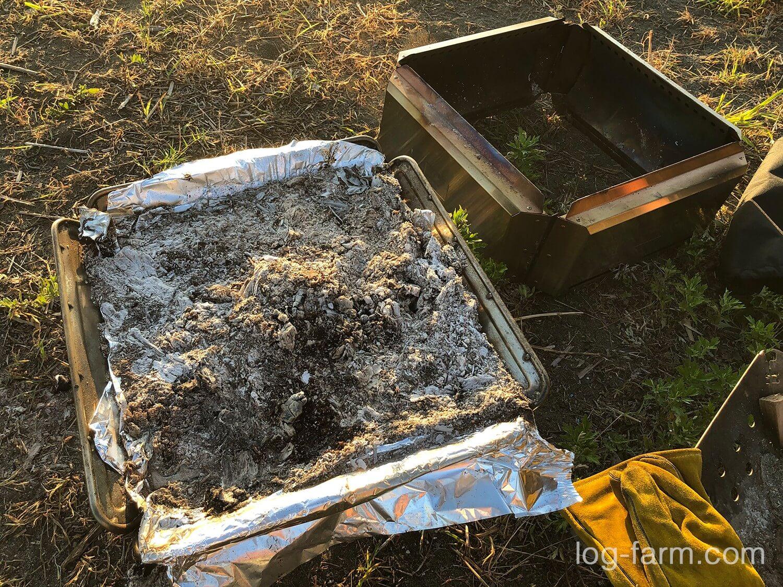 焚火台L+フローガLを使った後の灰
