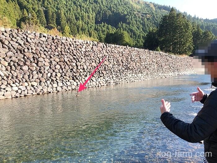 川に流されるペグケース