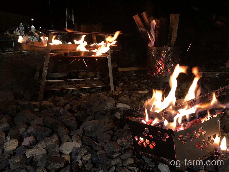 3つの焚火台で焚き火