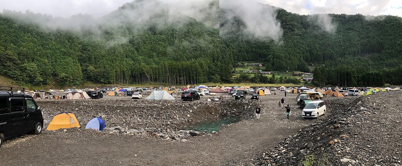 混み合う谷瀬つり橋オートキャンプ場