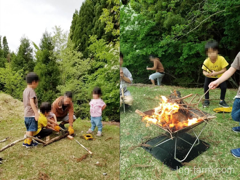 薪割りと焚き火